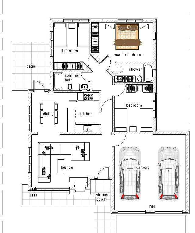 3 bedroom flat plan 1