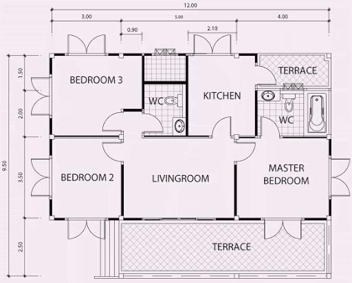 3 bedroom flat plan 6